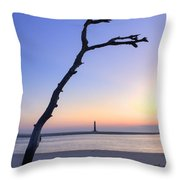 Folly Beach Sunrise Over Morris Island Throw Pillow