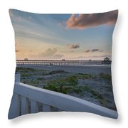 Folly Pier Sunrise Throw Pillow