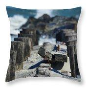 Folly Sea Wall Throw Pillow