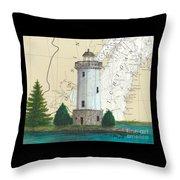 Fon Du Lac Lighthouse Wi Nautical Chart Map Map Throw Pillow