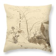 Fontainebleau, Figure Leaning Against A Rock Throw Pillow