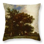 Fontainebleau Oaks 1840 Throw Pillow