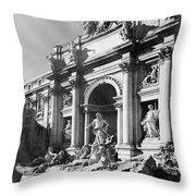 Fontana Di Trevi Rome, Italy - Bw Throw Pillow