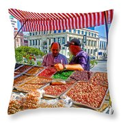Food Booth In Valparaiso Square-chile Throw Pillow