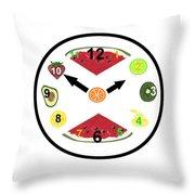 Food Clock Throw Pillow