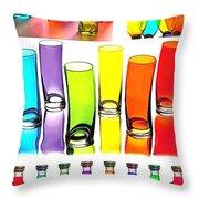 Food Coloring Ensemble-rainbow Theme Throw Pillow