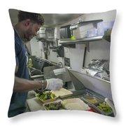 Food Truck Worker Throw Pillow
