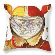 Fools Cap World Map, C1590 Throw Pillow