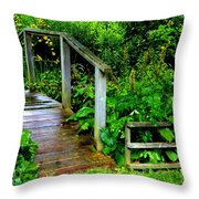 Foot Bridge And Fence Throw Pillow