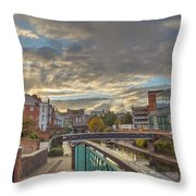 Foot Bridge At Gas Street Basin  Birmingham Throw Pillow