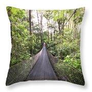 Foot Bridge In Costa Rica Throw Pillow