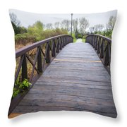 Foot Bridge In Park Throw Pillow