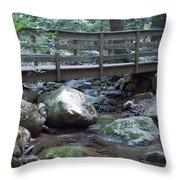 Foot Bridge Over Notch Brook Throw Pillow