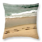 Foot Prints In The Sand.jpg Throw Pillow