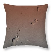 Foot Prints On The Beach Throw Pillow