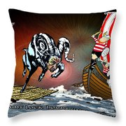Football Derby Rams Against Doncaster Vikings Throw Pillow