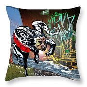 Football Derby Rams Against Plymouth Pilgrims Throw Pillow