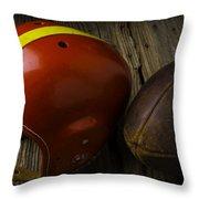 Football Helmet And Football Throw Pillow