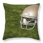 Football Helmet On Artificial Turf Throw Pillow