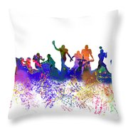 Football Players Skyline Throw Pillow