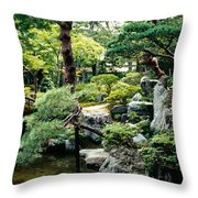 Footbridge Across A Pond, Kyoto Throw Pillow