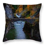 Footbridge At Lower Falls Throw Pillow