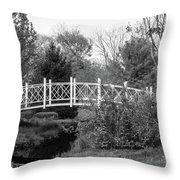 Footbridge In Black And White Throw Pillow