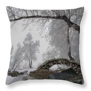 Footbridge Over The Creek Throw Pillow