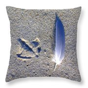 Footprint And Feather Throw Pillow