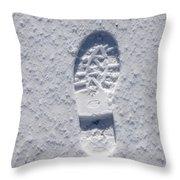 Footprint In Snow Throw Pillow
