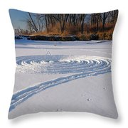 Footprint Snow Ring On A Frozen River In Winter At The Toronto I Throw Pillow