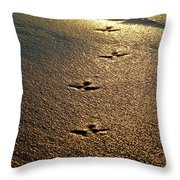 Footprints - Bird Throw Pillow