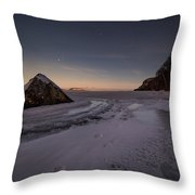 Footprints In Snow Around The Pyramid Rock Throw Pillow