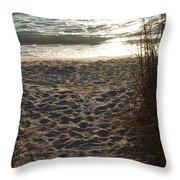 Footprints In The Dunes Throw Pillow