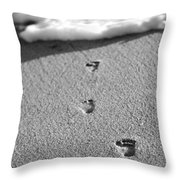 Footprints In The Sand Black And White Throw Pillow
