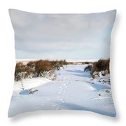 Footprints In The Snow Iv Throw Pillow