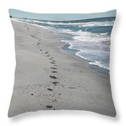 Footsprints In The Sand Throw Pillow