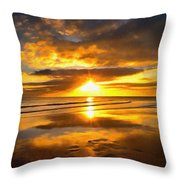 Footsteps  Beneath The Sunset I  Throw Pillow