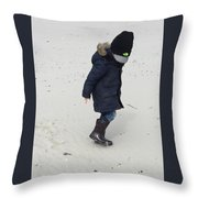 Footsteps In Sand Throw Pillow