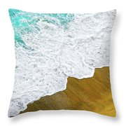 Footsteps In The Sand Hopelessly Facing The Rising Tide  Throw Pillow