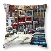 For Sale Original Paintings Montreal Petits Formats A Vendre Downtown Montreal Rue Stanley Cspandau  Throw Pillow