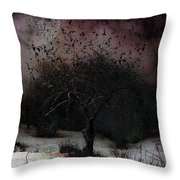 for Sledding and Starlings Throw Pillow