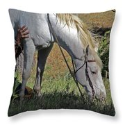 For The Love Of His Horse Throw Pillow
