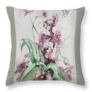 For The Love Of Orchids Throw Pillow
