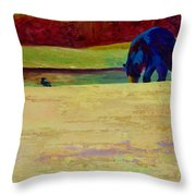 Foraging At Neets Bay - Black Bear Throw Pillow