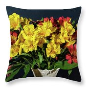Foral Bouquet Of Red And Yellow Astomelia Throw Pillow
