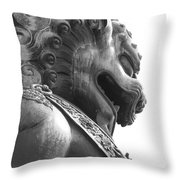 Forbidden City Lion - Black And White Throw Pillow