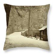 Forbidden Drive In Winter Throw Pillow