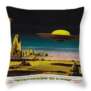 Forbidden Planet In Cinemascope Retro Classic Movie Poster Detailing Flying Saucer Throw Pillow