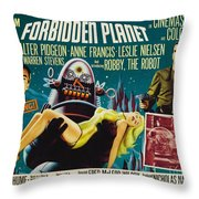 Forbidden Planet In Cinemascope Retro Classic Movie Poster Throw Pillow